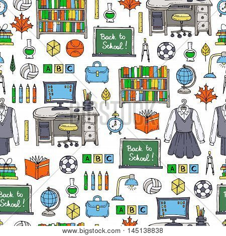 Vector seamless pattern with hand drawn colored symbols of school and university. Pattern on the theme of education back to school. Background for use in design, packing, web site, fabric