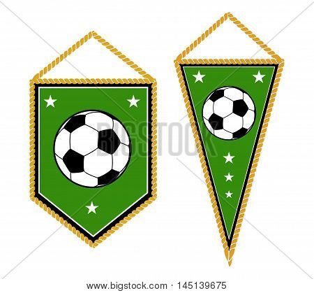 A pair of soccer pennants isolated white. Set of element for football club. Vector illustration