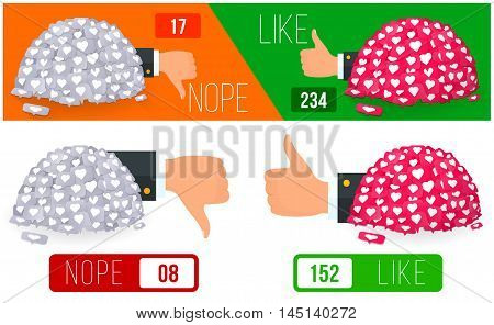 Likes and dislike banner illustration. Vector illustration