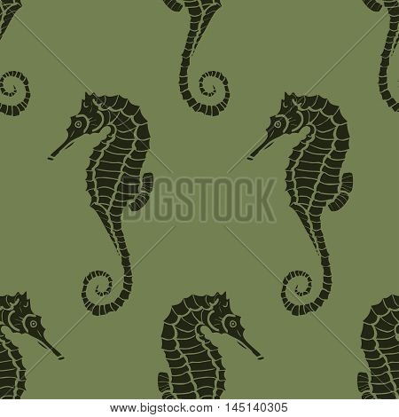 seamless pattern made from seahorses. Hand drawing seahorse. Vector hippocampus