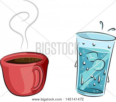 Illustration Featuring a Cold Glass of Water and a Cup of Hot Coffee