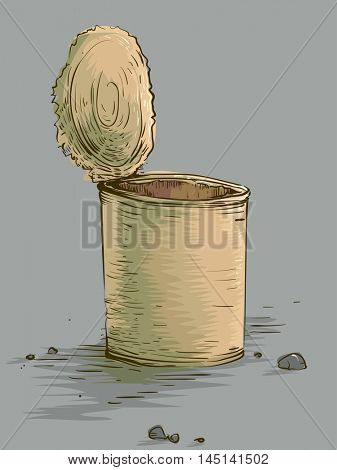 Illustration Featuring an Old Empty Tin Can