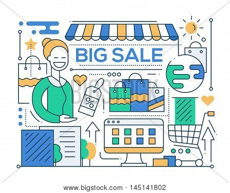 Big sale - vector modern line flat design city composition with a storefront and smiling shop assistant