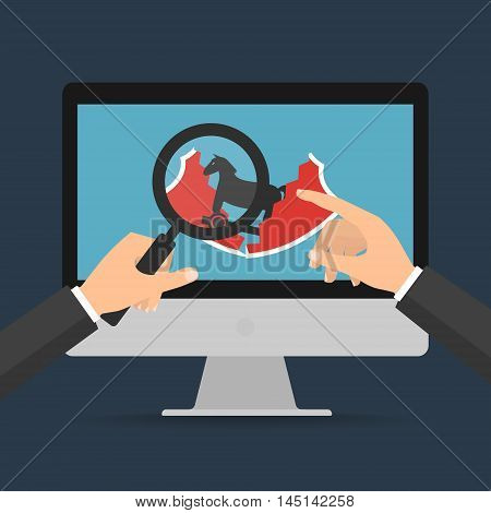 Businessman hands hold a magnifying glass found trojan horse malware computer virus destroy protection shield on laptop computer. Vector illustration technology data privacy and security concept.