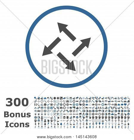 Centrifugal Arrows rounded icon with 300 bonus icons. Glyph illustration style is flat iconic bicolor symbols, cobalt and gray colors, white background.