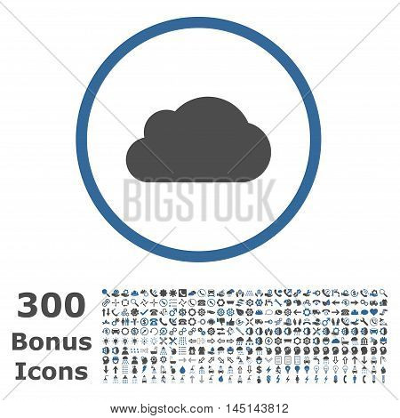 Cloud rounded icon with 300 bonus icons. Glyph illustration style is flat iconic bicolor symbols, cobalt and gray colors, white background.