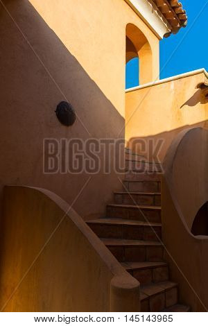 Typical mediterranean terracotta stair and walls Provence France