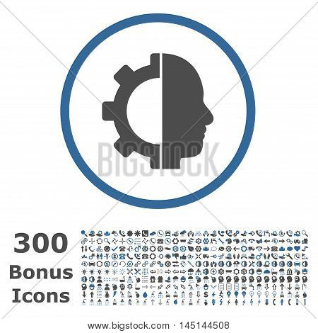 Cyborg Gear rounded icon with 300 bonus icons. Glyph illustration style is flat iconic bicolor symbols, cobalt and gray colors, white background.