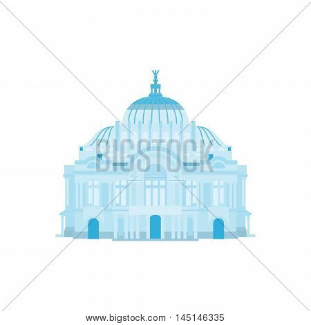 Palace of Fine Arts silhouette in blue colors. Vector illustration