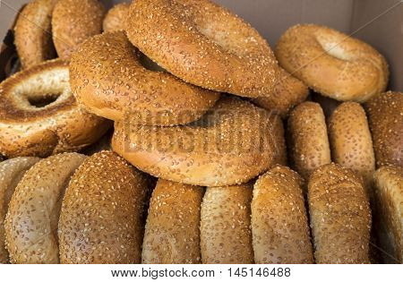 Fresh sesame bagels at the city market