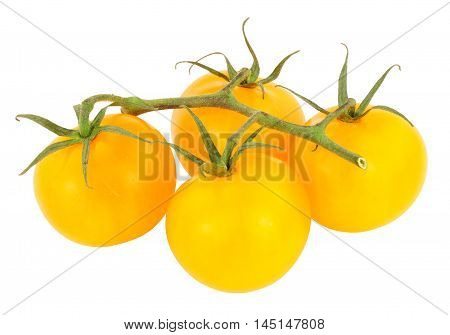 Fresh vine ripened amber tomatoes isolated on a white background