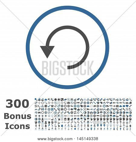 Rotate Ccw rounded icon with 300 bonus icons. Glyph illustration style is flat iconic bicolor symbols, cobalt and gray colors, white background.