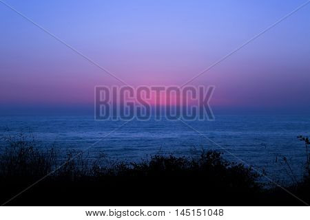 Magnificent scenery after sunset at the sea