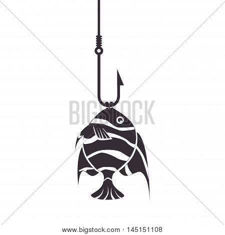 fish icon fishing hook isolated vector illustration eps 10