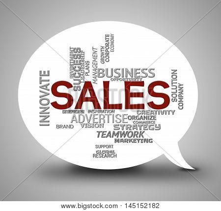 Sales Bubble Shows Retail Commerce 3D Illustration