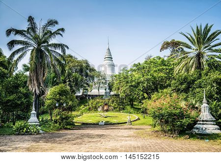 famous Wat Phnom temple landmark in central Phnom Penh city Cambodia