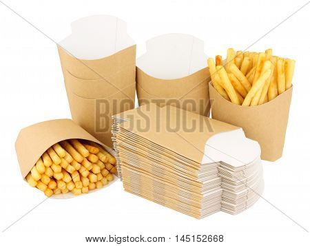 Cardboard French fry take away scoops isolated on a white background