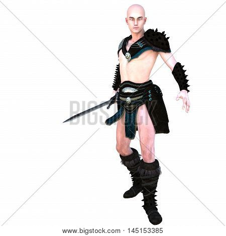 one young bald warrior in the Roman light armor. Barbaric. He is half-side to the camera. With an iron sword in his right hand. 3D rendering, 3D illustration