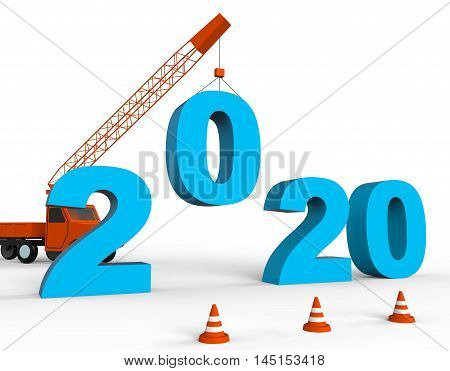 Two Thousand Twenty Indicates New Year 2020 3D Rendering