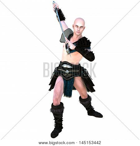one young bald warrior in the Roman light armor. Barbaric. He stands in a combat pose of a monk with a sword. 3D rendering, 3D illustration