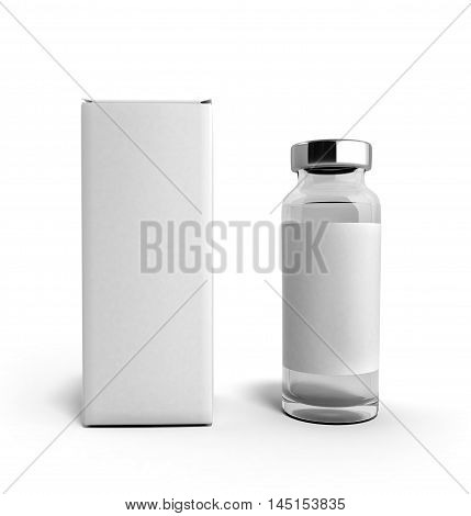 Empty Medical Ampoule With A Box 3D Illustration Isolated On White