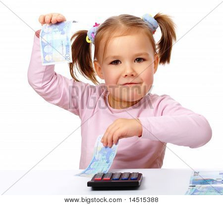 Little Girl With Few Paper Euro Banknotes
