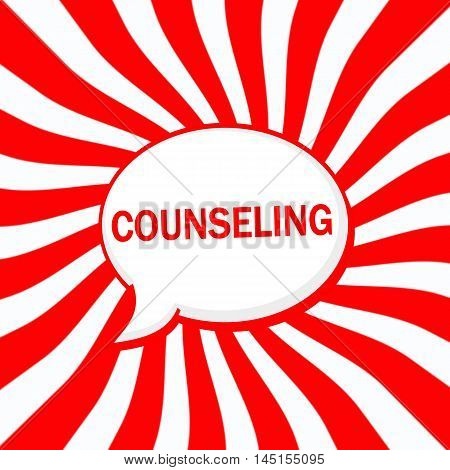 COUNSELING Speech bubbles wording on Striped sun red-white background