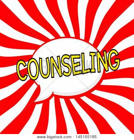 COUNSELING Speech bubbles yellow wording on Striped sun red-white background