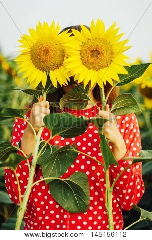 Sensual Portrait Of A Girl In A Sunflower Field. Portrait Of Woman In Sunflower Field.