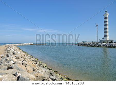 Lighthouse of Lido di Jesolo at adriatic Sea in Veneto,venetian Riviera,Italy