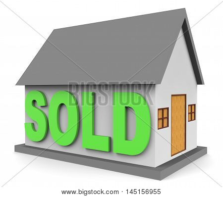 House Sold Means Home Sale 3D Rendering