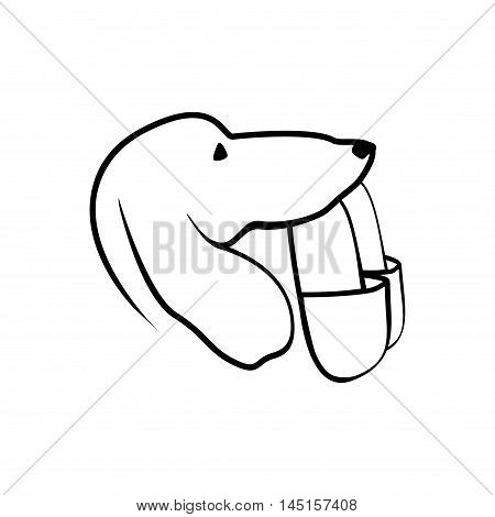 Dog brings slippers. Vector flat linear illustration