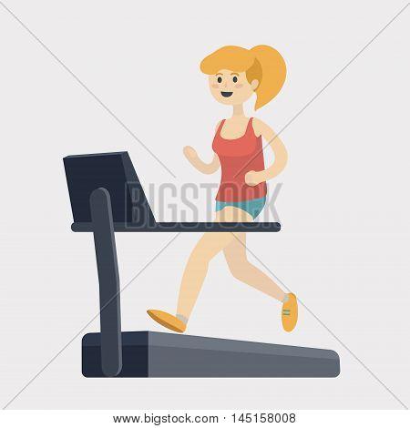 Girl run on treadmill. Sport woman. Cartoon colorful vector illustration