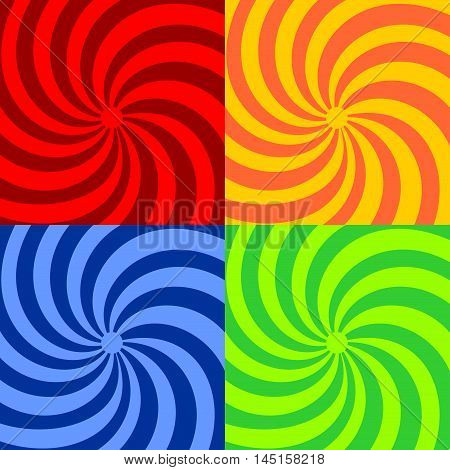 Set retro ray background. Variegated stylish vintage background. Blue red yellow orange green background. Vector bright abstract background.