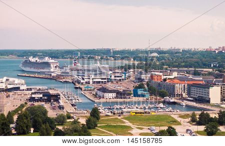 TALLINN, ESTONIA - JUNE 30, 2013: View of the passenger terminal D of the sea port of Tallinn from the tower of St. Olaf's church.