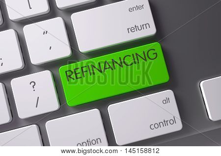 Concept of Refinancing, with Refinancing on Green Enter Keypad on Modern Laptop Keyboard. 3D Illustration.
