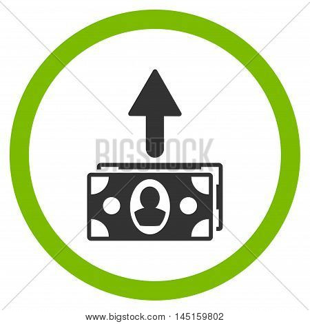 Spend Banknotes vector bicolor rounded icon. Image style is a flat icon symbol inside a circle, eco green and gray colors, white background.