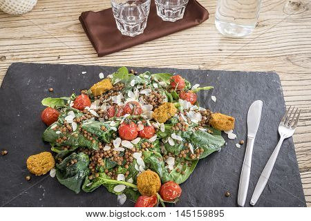 Delicious salad with falafels lentils and baked tomato served on stone plate