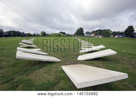 JELLING DENMARK - AUGUST 22 2016: The ship now marked by white tiles. Mythology tells that the dead could sail to Valhalla. Monuments are a UNESCO World Heritage Site. August 22 2016