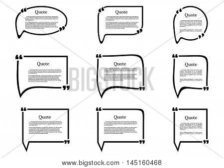 Set of frames isolated on white background. Speech frame for text. Quote text. Text quote frame. Vector illustration