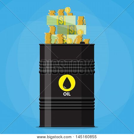 Stack of dollars and coins on oil barrel. oil industry. vector illustration in flat style on blue background