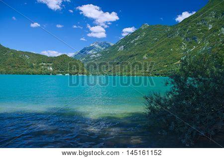 View of the lake of Cavazzo in Friuli Venezia Giulia, Italy