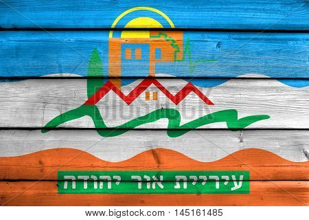 Flag Of Or Yehuda, Israel, Painted On Old Wood Plank Background