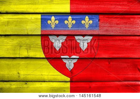 Flag Of Orleans With Coat Of Arms, France, Painted On Old Wood Plank Background