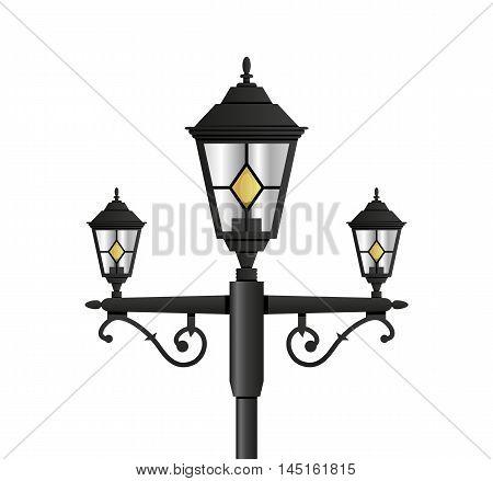 Light pole street lamp close up on white background. vector illustration