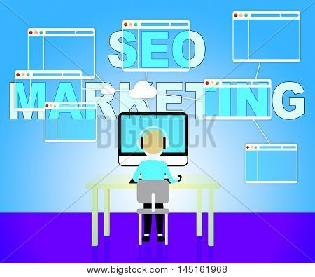 Seo Marketing Shows Search Engines 3D Illustration