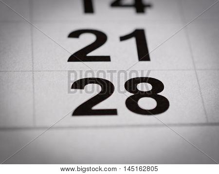 close up black white calendar twenty eight