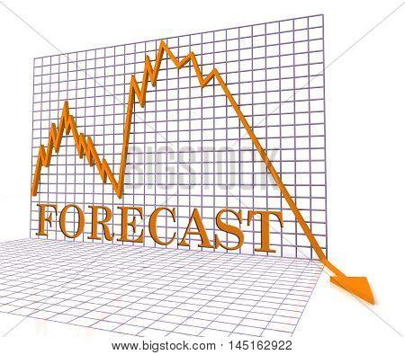 Forecast Graph Negative Represents Economic Downturn 3D Rendering