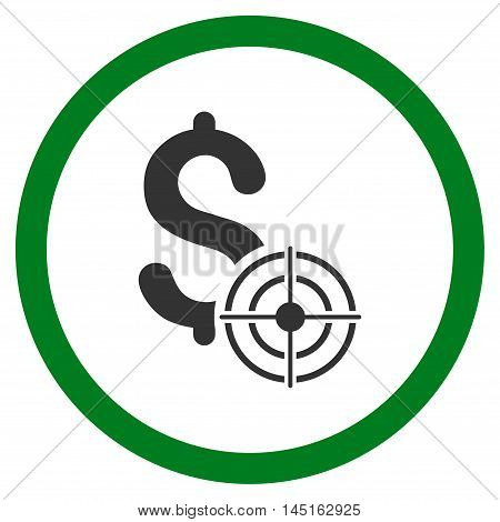 Business Target vector bicolor rounded icon. Image style is a flat icon symbol inside a circle, green and gray colors, white background.