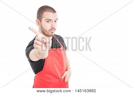 Young Butcher Doing Refusal Gesture